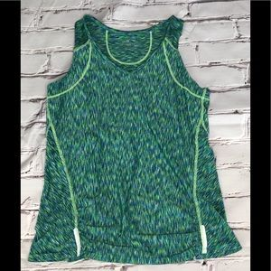 Athleta green tank top with back zipper size small
